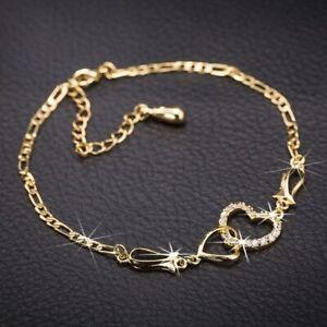 Fashion 18K Gold Zircon Crystal Bracelet Bangle Women Wedding Adjustable Hot