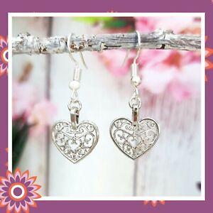 Silver Heart Earrings Tibetan Filigree Hearts Dangly Hook Love Romantic Gift