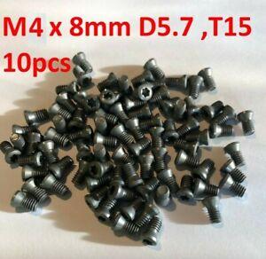 10xScrews M4x8 T15 Carbide Indexable Inserts Turning Plates LATHE MILLING CNC