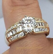 2 CT Man Made Diamond Engagement wedding ring 14k yellow solid gold solitaire s7