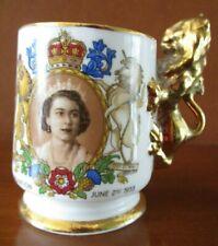 RARE QUEEN ELIZABETH II CORONATION 1953 MUG/CUP GOLD GILT LION HANDLE