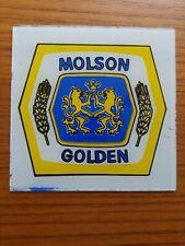 "Molson Golden Canadian Beer Carnival Glass Tile Sign 6"" x 6"" Vintage 1980s"