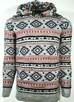 Mens Aztec Hood Knit Pullover Casual Jumper Winter Sweater Fair Isle from £8.99