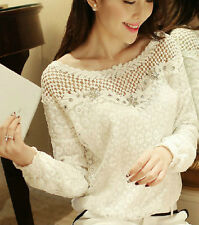 Women Embroidery Casual Long Sleeves Lace Slim Blouse Cotton Tops T Shirt Asia M