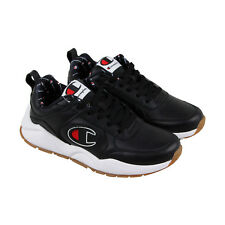 fa19204b9490e4 Champion 93 Eighteen Big Mens Black Leather Lace Up Training Shoes
