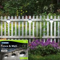 3 x Solar Led Step Fence Wall Path Lights Outdoor Garden Lights Waterproof Auto