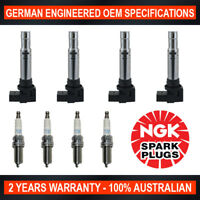 4x Genuine NGK Iridium Spark Plugs & 4x Ignition Coils for VW Golf MK6 Jetta 1K