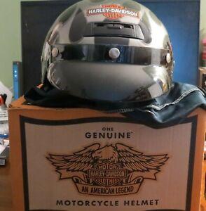 Harley Davidson Half Helmet w/visor Glossy Black w/Platinum Silver Flame SZ LG
