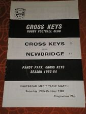1983 Cross Keys V Newbridge programme 29/10/83