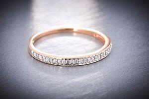 10K Solid Rose Gold 0.05ct TDW Diamond Women's Wedding Band