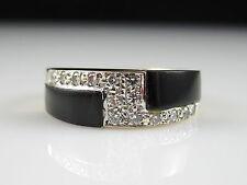 14K Black Onyx Diamond Ring MAYORS BIRKS Inlay Yellow Gold Band Signed Size 6.5