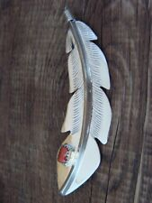 Navajo Sterling Silver Coral Feather Pin! Handmade by Billy Long