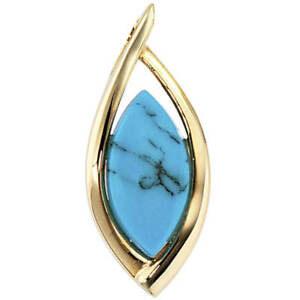 Pendant With Turquoise Blue, 585 Yellow Gold, Pointed Oval Plain, Ladies