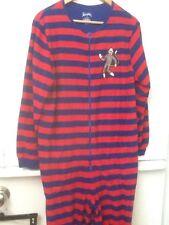 Nick & Nora L One Piece Pajama Set Red Blue Striped Sock Monkey Feet Womens PJ