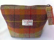 lady's woman's Harris tweed orange tartan toiletry bag sponge bag wash bag
