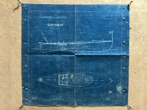 Antique Thornycroft Skimmer Motor Racing Speed Boat Blueprint Print Poster C