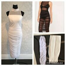 2 New Missguided Dresses - High Neck Mesh Midi And Bandage Dress - 12 + 14