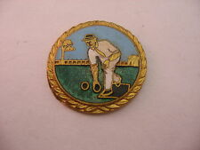 Vintage UK British Medal Badge Charm (No Backing) LAWN BOWLING Beautiful Enamel