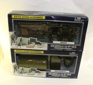 Soldiers of The World 2000 Battle Scenes mortar set + Vehicle accessory set NOS
