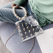 Women Transaprent PVC Clear Pearls Jelly Tote Bag Casual Messenger Handbag CY