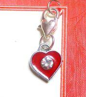 Red Romantic Heart Clip-on European Charm for Bracelet Birthday Day Gift Bag