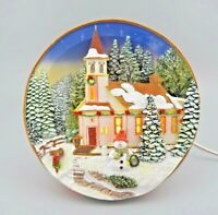 Vintage Lighted 3D Plate Church Nightlight Winter Scene by Popular Imports GUC