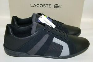 Lacoste Chaymon Club 120 2 Black Mens Leather Sneakers 39CMA0013-237 New Size 12