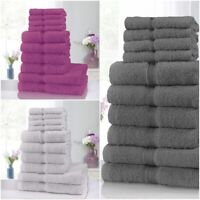 LUXURY 10 PIECE TOWEL BALE SET 100% PURE EGYPTIAN COTTON FACE HAND BATH TOWELS