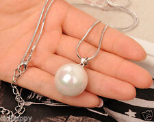 Single pearl pendant snake chain long necklace silver UK Seller