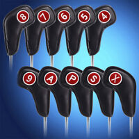10pcs Black Head Covers MagneticClosure for Golf Ping Mizuno Titleist Irons Club