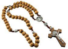 Rosenkranz Kette Holzperlen mit Kreuz Gebetskette versch Farben Schmuckbox 9