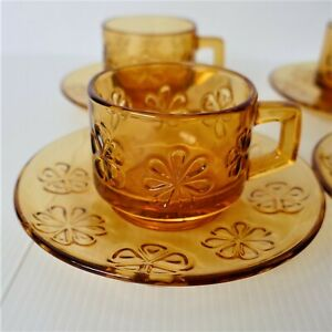 French Vereco Amber Glass Coffee Tea Cups Daisy Vintage Retro - Set of 4