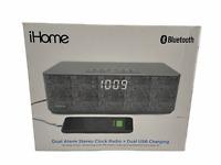 iHome IBT97 Bluetooth Wireless Stereo Clock Radio Speakerphone + USB Charging
