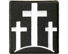 "(UU) 3 WHITE CROSSES  2.25"" x 2.5"" iron on patch (3164) Christian Biker"