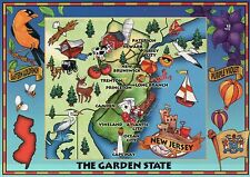 New Jersey, The Garden State, Atlantic City, Cape May, Trenton --- Map Postcard