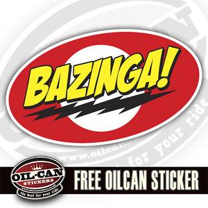 bazinga sticker decal big bang theory geek 110mm x 70mm