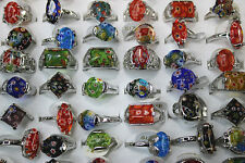 Wholesale Lots 50pcs Mixed Glass Multicolor Rings Jewelry Lots Fashion Ring
