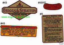 Briggs & Stratton decals for 9, 14, 19 & 23; 50's Fits Bantam tractors Set of 4