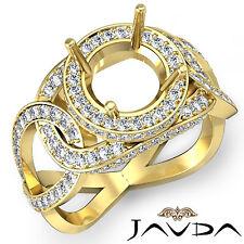 Unique Diamond Engagement Round Semi Mount Designer Ring 14k Yellow Gold 1.3Ct