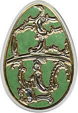 Cook Is 2013 Large Silver Color $5 Russian Faberge Easter Egg-Green/Swarovski Cr