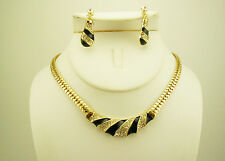 Joan Rivers Enameled and Crystal Necklace & Earring Set (w/JR romance card) G