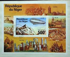 Republique du Niger poste Aerienne 500f Airship Zeppelin carta de bloque (4366+