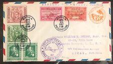 1937 Manila Filippine First Flight Posta Aerea Cover Ffc a Macao Port Cina