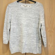 Gap Ladies Size L (UK16/18) Grey White Jumper Cotton Eyelet Back Sweater Top