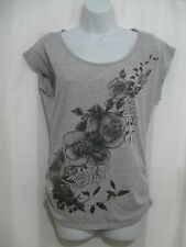 One Clothing Womens Gray Floral T-Shirt Top Short Sleeve  Size: Small