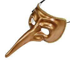 Men's Gold Long Nose Masquerade Mask The Plague Doctor One Size Venetian NEW
