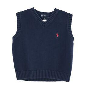 Polo Ralph Lauren Sweater Vest Boys 4 Blue V-Neck Sleeveless Ribbed Edges Japan