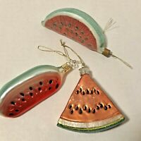Watermelon Ornaments Lot of 3 Germany Old World Christmas