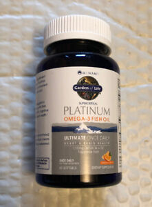 Garden of Life Platinum Omega‑3 Fish Oil Orange Flavor 60 Ct Exp 08/2022+ Sealed