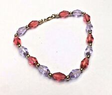 """Solid 14K Yellow Gold Beads and Purple+ Coral Swarovski Crystal Bracelet 7.5"""""""